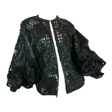 Valentino 1990s Cutout Beaded Leather Batwing Sleeve black vintage Jacket