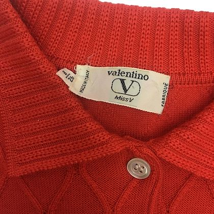 Valentino Miss V 1990s knit burnt orange vintage dress
