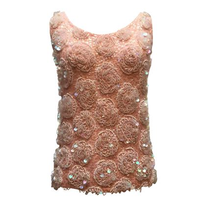 Vintage 1950s wool embellished sequin & bead pink top