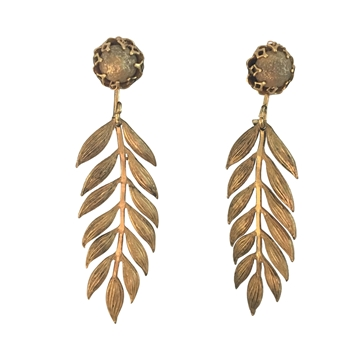 Miriam Haskell 1950s palm frond motif gilt vintage earrings