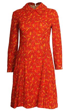Picture of Vintage 1960s Leaf Print red Mini Dress