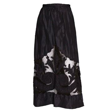 Antique Silk & Net Embroidered black vintage skirt