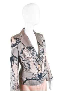 John Galliano for Christian Dior 2006 Lace Print Satin vintage Skirt Suit