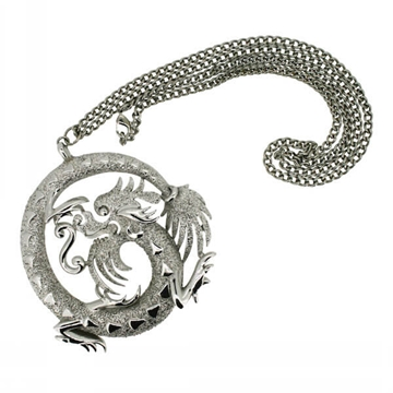 Trifari 1970s Dragon Pendant Vintage Necklace