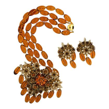 Stanley Hagler 1980s Amber Floral Necklace and Earrrings Set