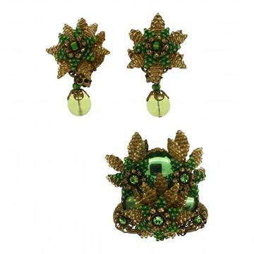 Stanley Hagler 1980s Green Floral Vintage Brooch and Earrings Set