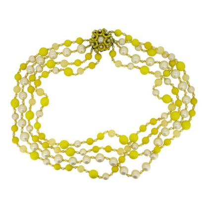 Miriam Haskell 1950s Yellow Glass Bead Vintage Necklace