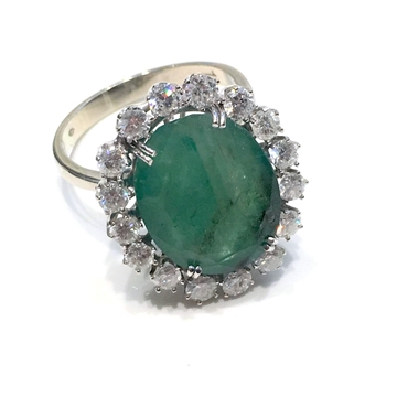 Picture of Whitegold entourage ring with diamonds and emerald