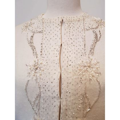 1950's Lambswool beaded ivory cardigan