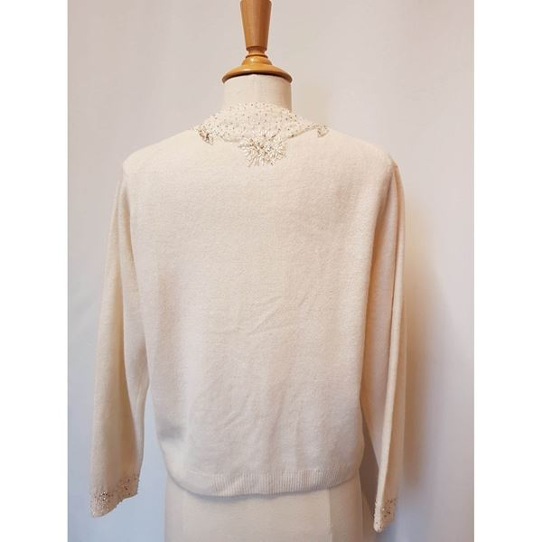 Picture of 1950's Lambswool beaded ivory cardigan