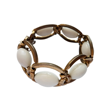 Monet 1960s gilt link statement white vintage bracelet