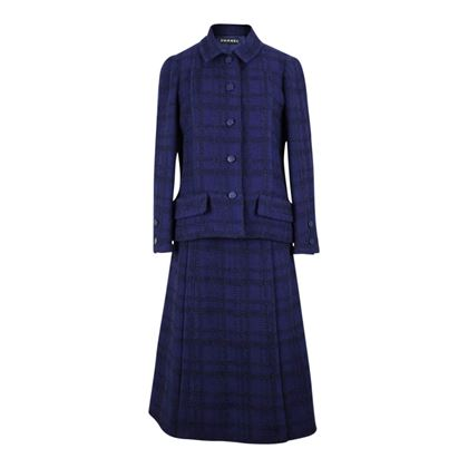 Chanel 1971 bouclé wool blue vintage skirt suit
