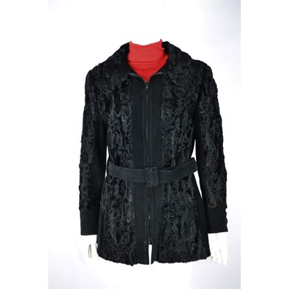Picture of Astrakan 1970s Persian Lamb and suede black vintage ladies jacket