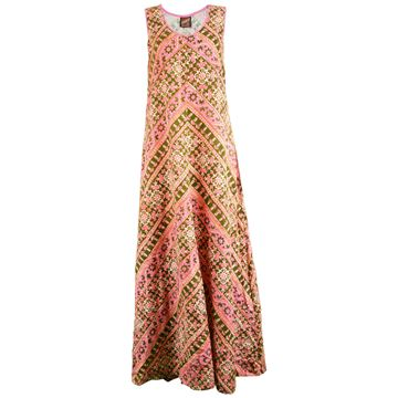 Anokhi 1970s Indian Cotton Pink & Green Vintage Maxi Dress