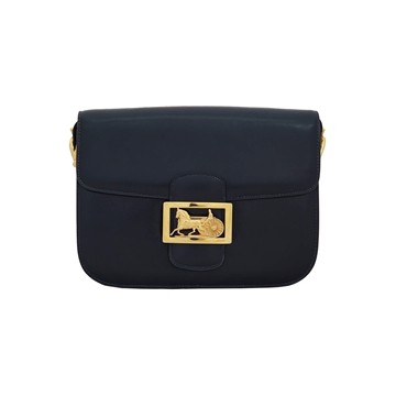 Celine 1980s gold tone motif navy vintage box bag