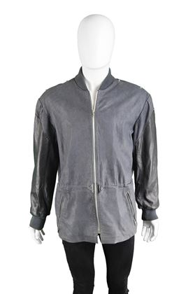 Claude Montana 1980s Lamb Leather Two Piece Grey Vintage Jacket