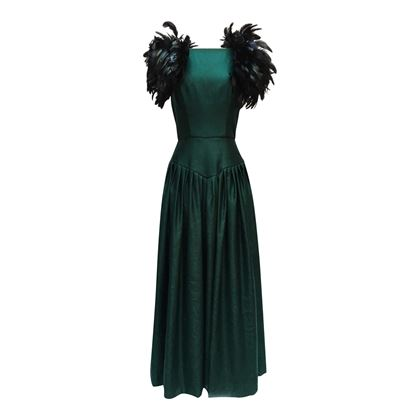 Victor Costa for Neiman Marcus 1970s feather detail green vintage dress