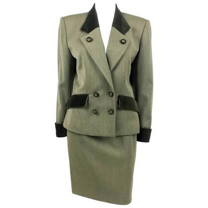 Hermes 1980s Double Breasted Wool & velevt trim green vintage Skirt Suit