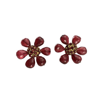 Chanel 1970s Gripoix Large Flower red vintage Earrings