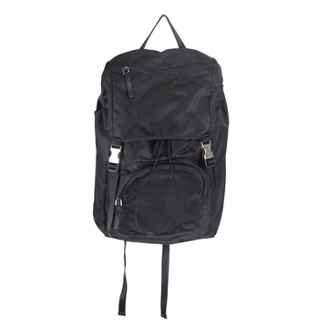 Prada Nylon Canvas Double Buckle Navy Blue vintage Backpack