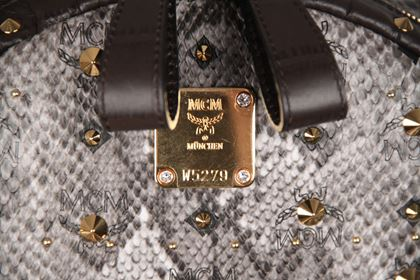 MCM Munchen Python Canvas Stud Armour Backpack