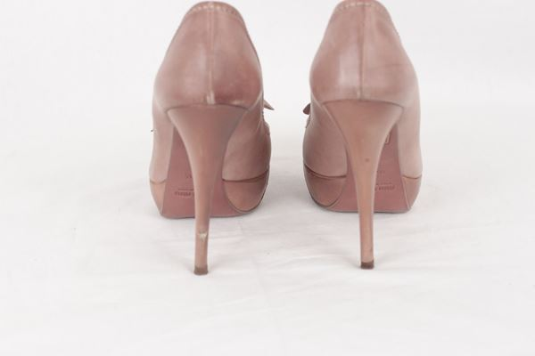 Miu Miu Open Toe Bow Detail Taupe Leather Vintage Pumps Heels