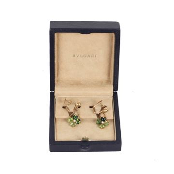 Bulgari 18K Yellow Gold Clover Tourmaline Earrings