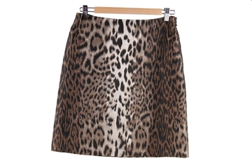 Lanvin Leopard Print Silk Blend Brown Vintage mini Skirt