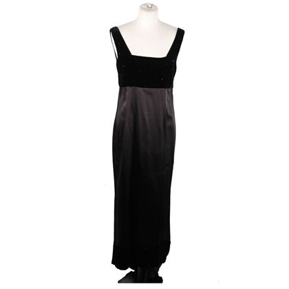 Gianfranco Ferre Satin Velvet Detail Black Vintage Evening Dress Gown