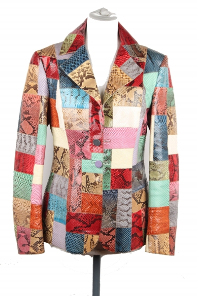 Roberto Cavalli Patchwork Snakeskin Leather Multicolour Vintage Blazer Jacket