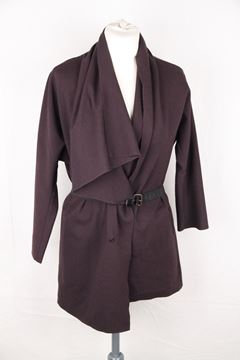 Lanvin Wool Blend Waterfall Drape Dark Purple Vintage Cardigan