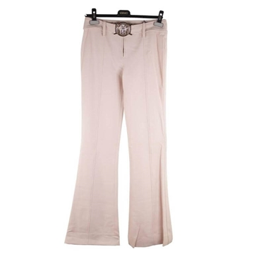 Versace AW05 Stretch Wool Medusa Buckle Baby Pink Vintage Trousers