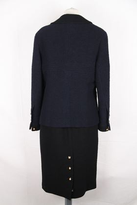 Chanel 1990s Wool Blend Navy Blue Vintage Skirt Suit