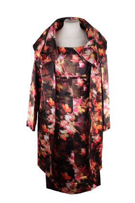 Versace AW08 Silk Floral Pattern Multicolour Vintage Coat and Dress Suit Set