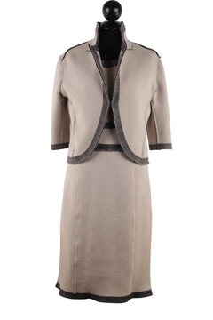 Oscar De La Renta Pre-Fall 2011 Cashmere Vintage Beige Jacket and Dress Suit Set