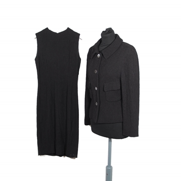 Gucci Nylon and Wool Black Vintage Shift Dress and Blazer Dress Suit Set