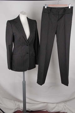 Dolce & Gabbana Pinstriped Wool Black Vintage Trouser Suit Set