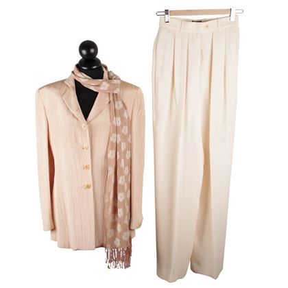 Giorgio Armani Black Label Peach and White Vintage Trouser Suit