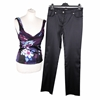 Versace Silk Top and Satin Pants Blue Vintage Trouser Set