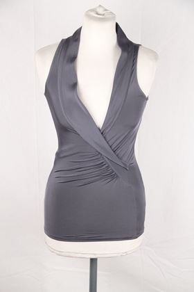 Gucci Sleeveless Jersey Drape Grey Vintage Top