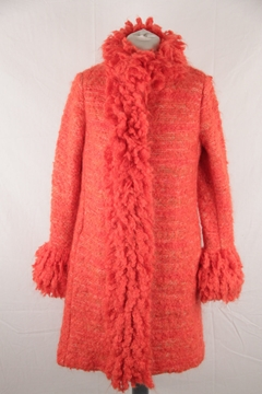 Missoni Shaggy Trim Knitted Mohair and Wool Red Vintage Coat