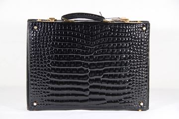 Gucci Vintage Black Crocodile Hard Sided vintage Briefcase