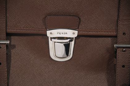 Prada Saffiano Leather Cartella brown vintage Briefcase Satchel