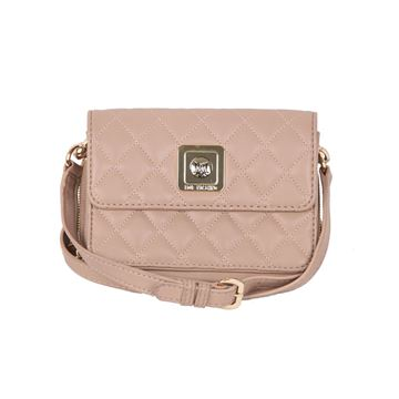 Love Moschino beige Quilted Crossbody Bag with Detachable Wallet