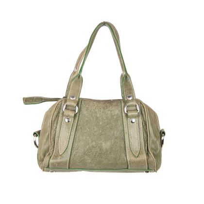 Miu Miu Distressed Leather Green Vintage Shoulder Bag