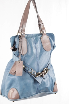 Chloe Turquoise & Taupe Leather Kerala vintage tote Bag