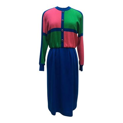 Ciao Ltd. 1980s Wool block colour vintage dress