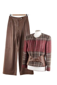 Valentino Checked Wool Plaid and Leather Brown Vintage Trouser Suit