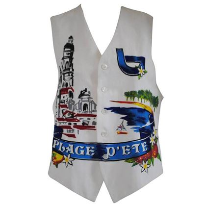 Byblos 1990s Plage D'Ete Beaded Multicoloured Vintage Waistcoat