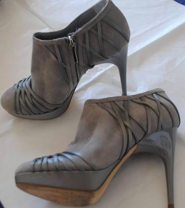 Christian Dior Leather Lattice Suede Grey High Heel Ankle Boots